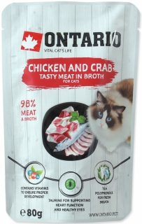 Kapsička ONTARIO Cat Chicken and Crab in Broth - 80g
